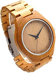 Bamboo Wooden Watch - Engraved with Personal Text Gift for Him/Her, Anniversary, Wedding Gift
