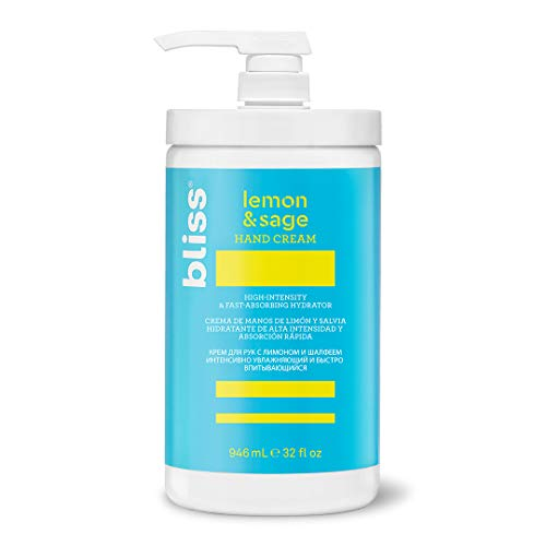 Bliss - Lemon & Sage Hand Cream | High-Intensity & Fast-Absorbing Hand Lotion & Cuticle Cream | Non-Greasy Shea Butter Formula Absorbs Instantly | Vegan | Cruelty Free | Paraben Free | 32 fl oz