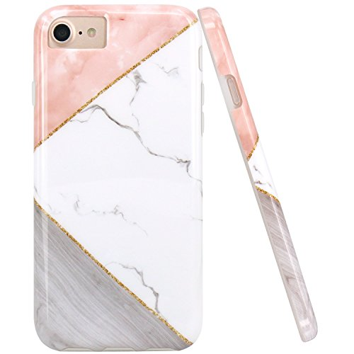 iPhone 7 8 Case, iPhone 6 6S Case, JAHOLAN Pink Geometric White Marble Design Clear Bumper Glossy TPU Soft Rubber Silicone Cover Phone Case for Apple iPhone 6/6S/7/8