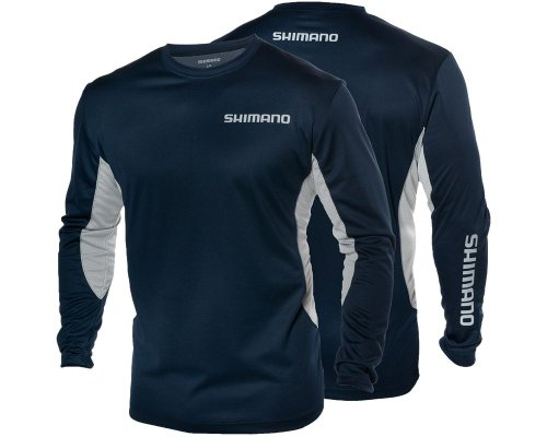 SHIMANO Technical Long Sleeve Shirt - Navy Blue - Large (Shimano Fishing Shirts For Men)