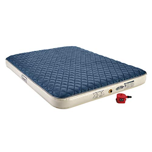 Coleman Inflatable Airbed with Zip-On Insulated Mattress Topper Battery-Operated Pump, Queen