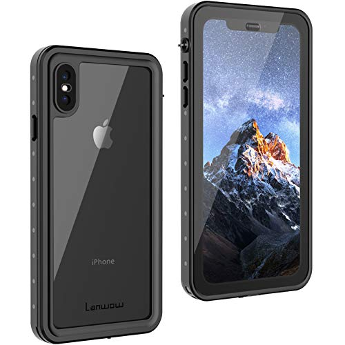 iPhone Xs Max Waterproof Case(6.5inch), Lanwow Full Body Protect Case with Screen Protector Support Wireless Charging Shockproof Dirtproof Rugged Waterproof Case for iPhone Xs Max 2018- Classic Black