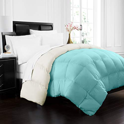 Beckham Hotel Collection 1700 Series Luxury Goose Down Alternative Reversible Comforter – Premium Hypoallergenic – All Season – Duvet – Twin/Twin XL – Aqua/Ivory