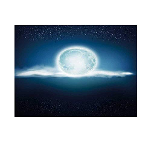 Dark Blue Photography Background,Full Moon with Clouds and Stars Majestic Sky at Night Foggy Lunar Backdrop for Studio,8x7ft