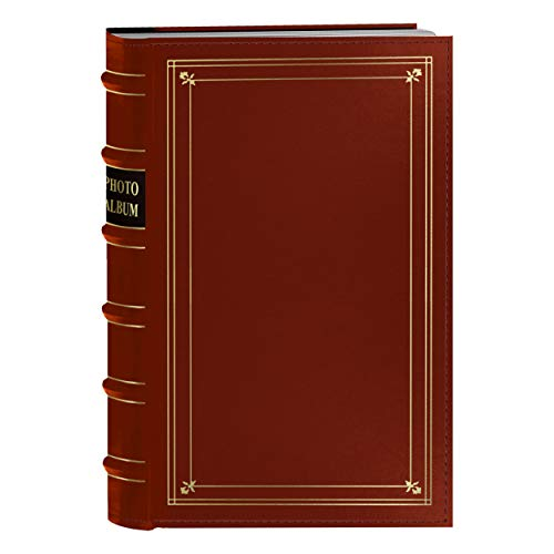 Pioneer Photo 204-Pocket Ring Bound Photo Album for 4 by 6-Inch Prints, Red Bonded Leather with Gold Accents Cover