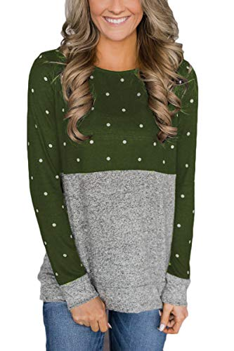 QINSEN Women's Plus Size Long Sleeve Loose Tees Tops Casual Crewneck T-Shirt Top Blouse Green XL