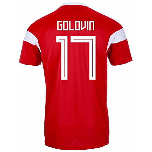 (adidas GOLOVIN #17 Russia Home Men's Soccer Jersey World Cup Russia 2018 (2XL))