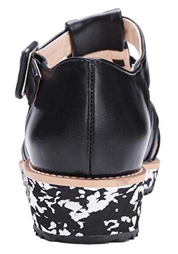 T Strap Toe Aisun Black Buckled out Sandals Stylish Platform Pointed Women's Wedge Cut Low Heel T80Hq