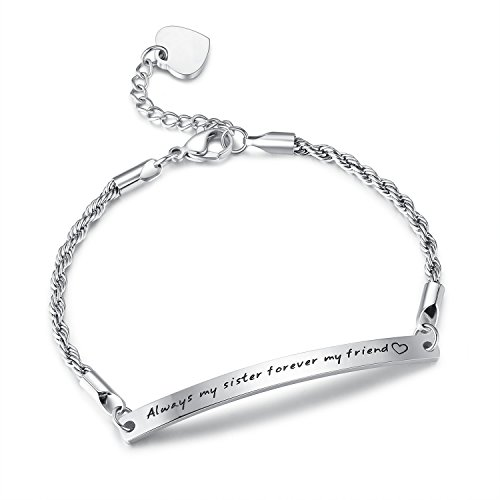 'Always my sister forever my friend' Stainless Steel Bracelet, Sister Bracelet, Sister Gifts, Friendship Gifts, Birthday Gifts, Jewelry for Women, Girls, Christmas, New Year Gifts (sister-silver)