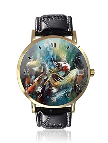 Free Goldfish Wrist Watch Unisex Fashion Black Leather Strap Stainless Steel Round Gold Dial Plate Wristwatch