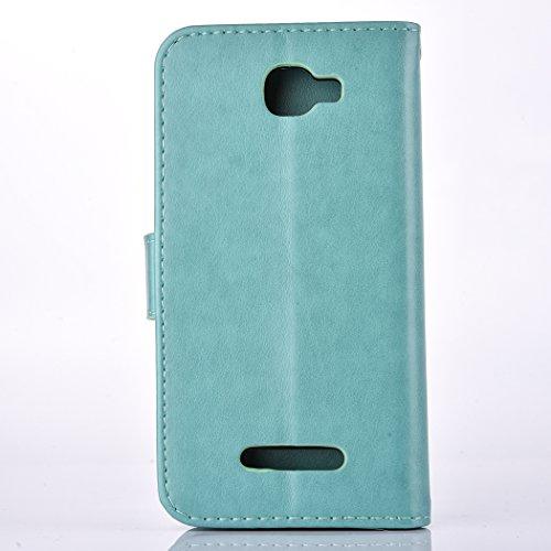 Ecoway Para Alcatel One Touch Fierce 2 7040T Funda, (Rosa ) Gofrado Cuero de la PU Leather Cubierta ,Función de Soporte Billetera con Tapa para Tarjetas Soporte para Teléfono blue Ash
