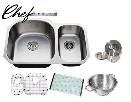 (Chef Series 32 Inch Premium 16 Gauge Stainless Steel Undermoun 70/30 D-bowl Offset Kitchen Sink with Free Accessories)