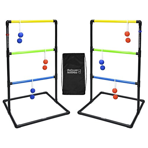 (GoSports Indoor / Outdoor Ladder Toss Game Set with 6 Rubber Bolos, Carrying Case and Score Trackers)