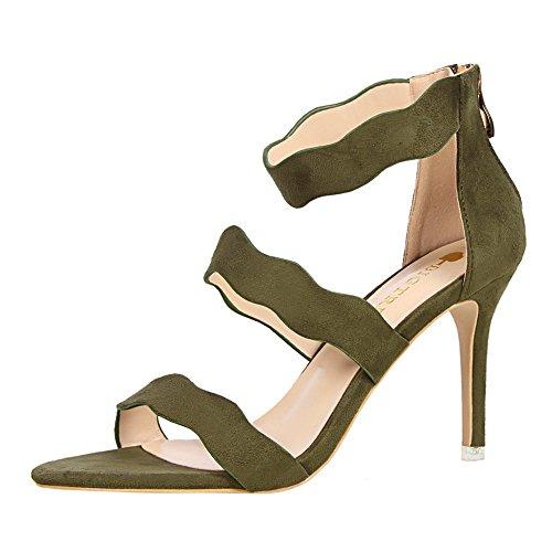 z&dw Moda dulce verano Slim señoras hueco zapatos con tacones altos terciopelo ondas de cara con una palabra con sandalias Verde