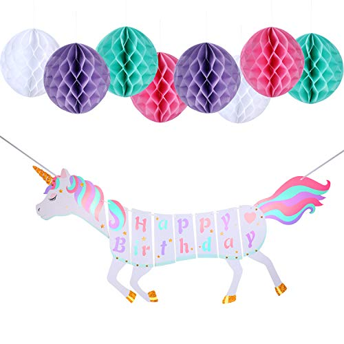 Party Decoration Set Unicorn Happy Birthday Banner Colorful Tissue Paper Honeycomb Ball for Birthday Party Decoration Supplies