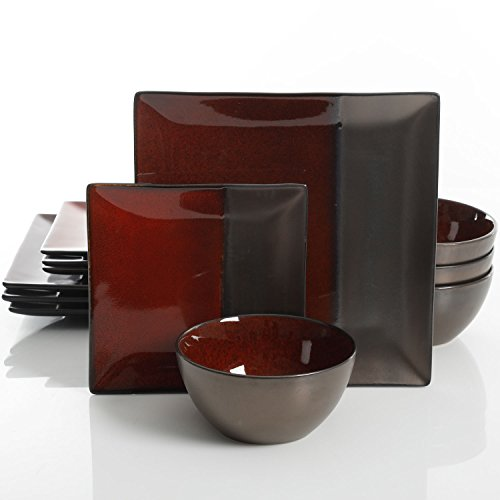 Gibson Elite Decadence 12-Piece Dinnerware Set Service for 4, Rust Reactive Glaze with Metallic Accents