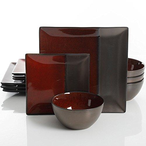 Gibson Elite Decadence 12-Piece Dinnerware Set Service for 4, Rust Reactive Glaze with Metallic Accents