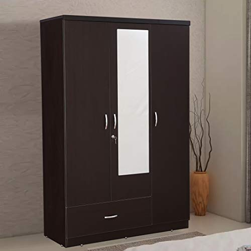 HomeTown Utsav Engineered Wood Three Door Wardrobe in Wenge Colour