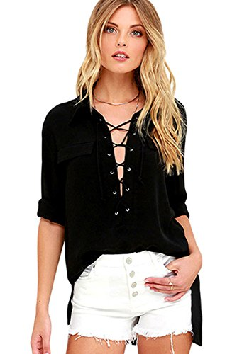 O&W Womens Summer Casual Breathability Solid Black Long Sleeve Loose Lace-up Top Shirt Blouse M