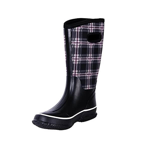WTW Women's Rubber Neoprene Snow Boots Winter Warm Waterproof Insulated Barn Rain Boots for Ladies 1
