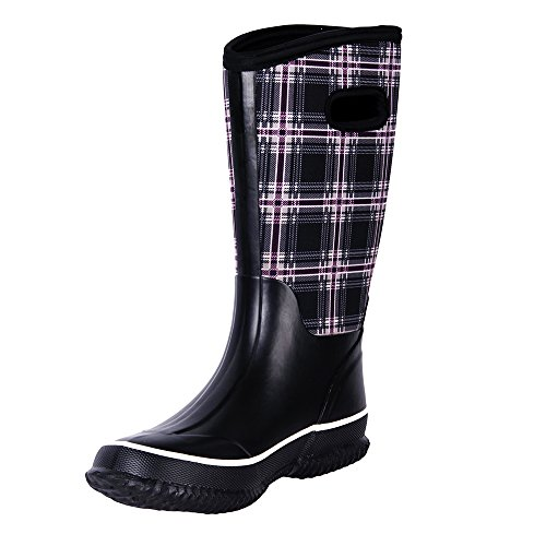 WTW Women's Rain Boots Rubber Mid Calf Winnter Protection up to -22 Fahrenheit (Size 10) by WTW