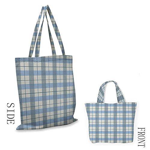 "(Shopping Bag CheckeredTraditional Scottish Tartan Plaid Texture Image Rural Style Slate Blue Pale Blue White18""W x 16""H )"