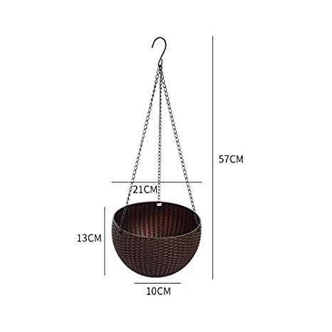 TAKEMORE7 Hanging Flowers Baskets Coffee Braided Pattern Flower Pot with 3 Iron Chains Bottom Base Water Separated Board Balcony Garden Plant Hanger Basket For Home Decoration