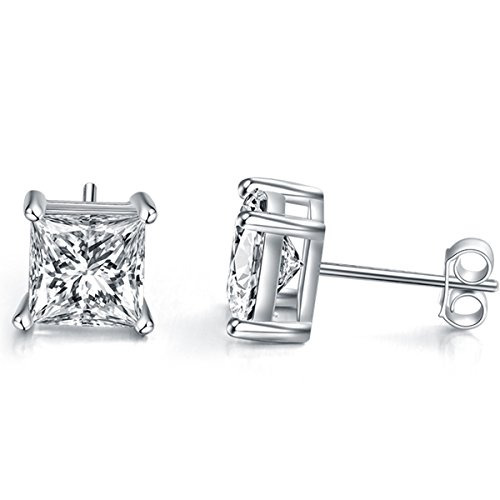 Silver Shape Sterling Diamond (Emma Manor Gold Plated 925 Sterling Silver 4 Prong 7mm Square Shape Cubic Zirconia Stud Earring (White Gold Plated Silver))