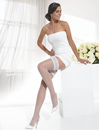 Conte Women's Thigh High Fishnet Bridal Stockings - Ivory, Extra-Small - Small by Conte elegant (Image #1)