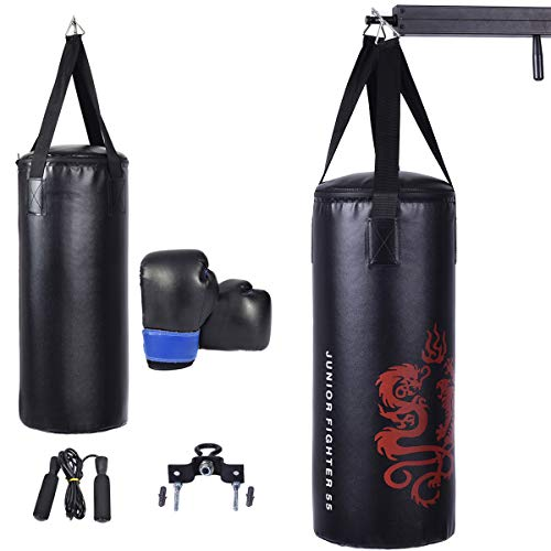 GYMAX Kids Punching Bag Set Heavy Bag Set w/Punch Bag, Gloves, Jump Rope, Mount Hook Hanger, Punching Bag Boxing Gloves for Kids