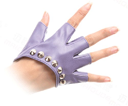 Women PU Half-finger Gloves Rivets Fingerless Mittens Purple (one size, (Dirty Dancing Halloween)