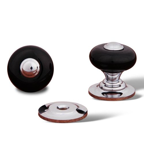 (RK International RKI 318-Black R.K. International CK 318 Black Porcelain Knob with Tip, Polished Chrome,)