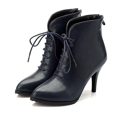 Blue Zipper Imitated Heel BalaMasa Shoes Boots Mule Stiletto Leather Solid Girls Wheeled PS5qO5w8