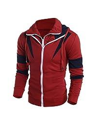 Goddessvan Men Sweatshirt, Men Retro Long Sleeve Hoodie Hooded Sweatshirt Double Zipper Cardigan Tops Jacket Coat Outwear