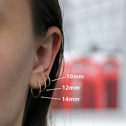 c469777105f20 14k Yellow or White Gold 10mm, 12mm and 14mm Endless Hoop Earrings Set
