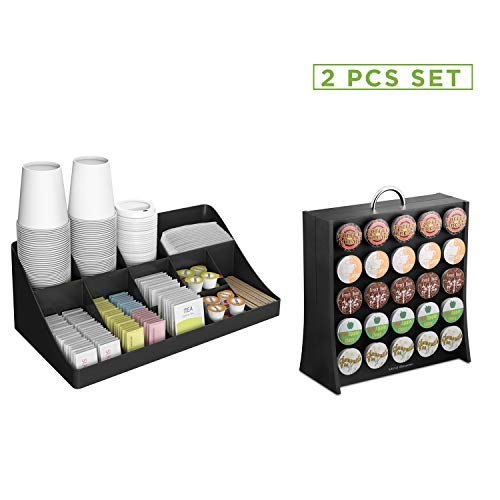 Mind Reader COMORGRAC-BLK 11 Compartment Condiment 50 Capacity K-Cup Single Serve Coffee Pod Holder Storage Organizer, Black, One Size (Keurig 2 Pc K Cup Storage Dispenser)