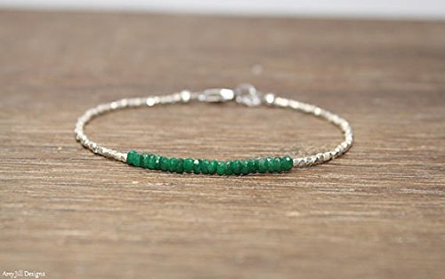 Tribe Silver 3mm (Emerald Bracelet, Hill Tribe Beads, Emerald Jewelry, Pure Silver, Gemstone Bracelet stones- 3mm hill tribe- 1.5mm 7