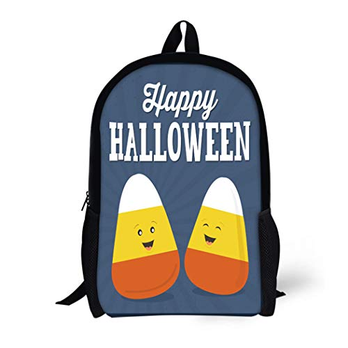 Pinbeam Backpack Travel Daypack Orange Cute Happy Halloween Candy Corn Cartoon Kids Waterproof School Bag ()
