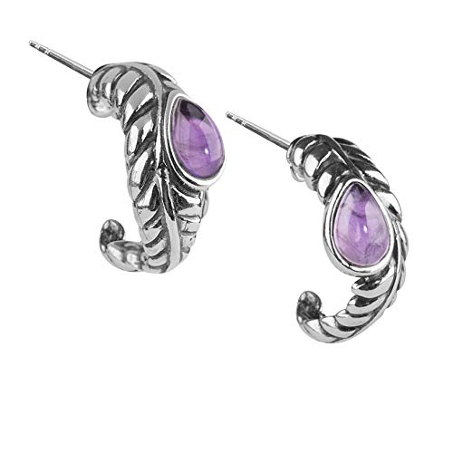 American West Sterling Silver Purple Amethyst Gemstone Leaf Hoop Earrings