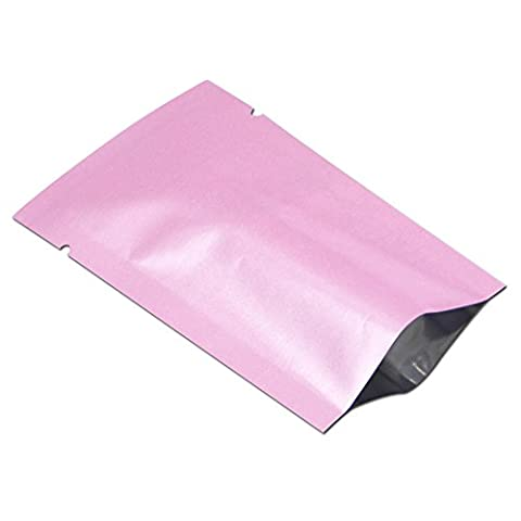 5x8cm (1.97x3.15 inch) Aluminum Foil Smell Leak Proof Packaging Mini Bag Heat Seal Flat Mylar Foil Pouch Bulk Food Storage Grocery Sample Giveaway Aluminizing Vacuum Wrap (Pink, Pack of 500 - 500 Count Pack