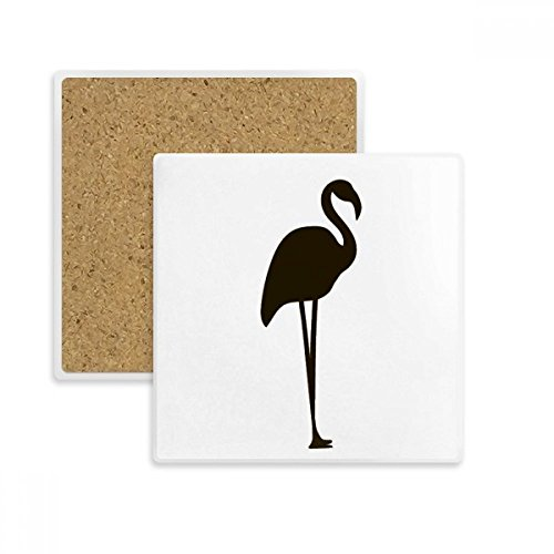 (Black Flamingo Cute Animal Portrayal Square Coaster Cup Mug Holder Absorbent Stone for Drinks 2pcs Gift)