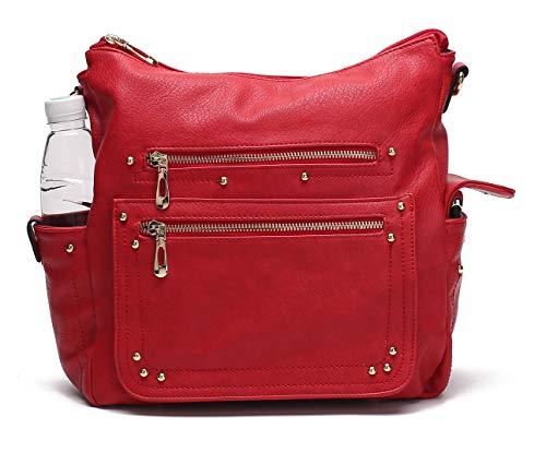 Handbags for Women's Shoulder Bags Tote Satchel Hobo Top Handle Ladies Purse Set Large Capacity by MKCUTE (Red) -