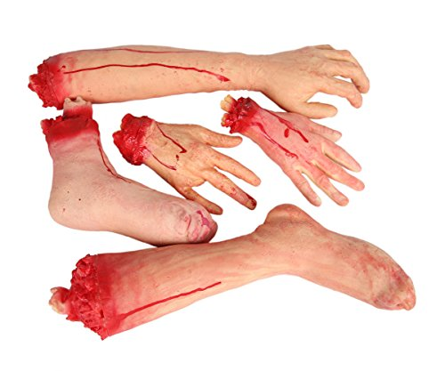 E-FirstFeeling Severed Hands Feet 5pcs/Set Scary Bloody Broken Body Parts Halloween April Fool Prank Props Decorations (5pcs/Set Parts) -
