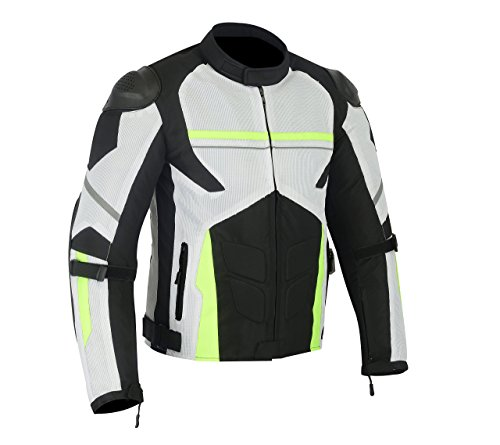 MENS MOTORCYCLE ARMOR HIGH PROTECTION WITH EXTERNAL ARMOR MESH WATERPROOF ALL WEATHERS JACKET GREEN ()