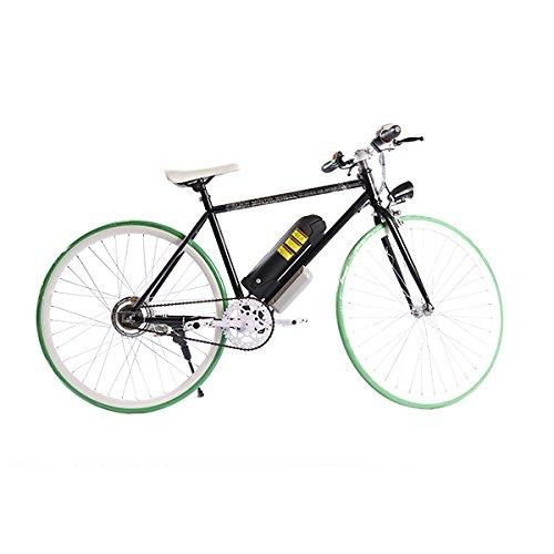 ELECTRIC Fixie Bike 350W 33MPH Alien Motor Wheels TM (BLACK/GREEN/WHITE/BLACK)