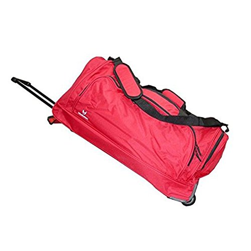 Polyester Large Roll Bag (Single Piece Red Lightweight Wheeled Duffle Bag, 28-inch, Softsided, Sport, Rolling Tri-Wheel, Polyester Material With Large Zipper Front Accessory Pocket, Internal Handle)