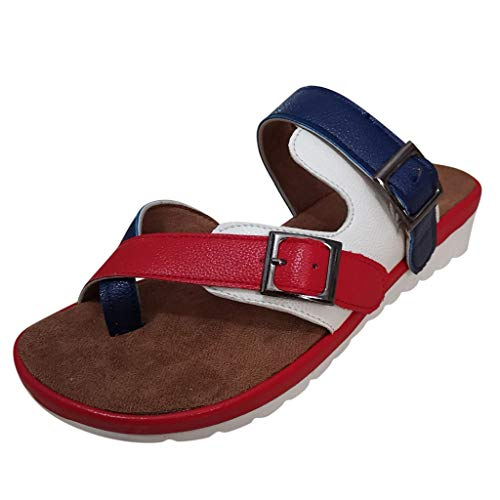 Sherostore ♡ Womens Thong Slip On Casual Slide Flip Flop Sandals Comfy Platform Sandal Shoes Summer Beach Travel Red