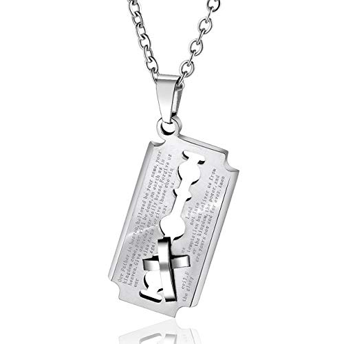 JAYUMO Stainless Steel English Lord's Prayer Blade Cross and Model Dog Tag Pendant Razor Necklace for Men (Silver Blade Dog Tag Pendant + 20 Inch Link Chain)