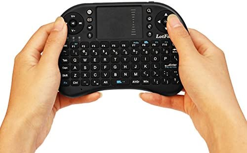 LotFancy 2.4G Wireless Mini Keyboard Mouse Touchpad Combo for PC Google Android TV Box Xbox 360 PS3 HTPC IPTV, Black