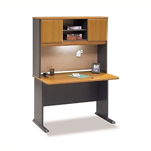 Bush Series A 48'' Wood Computer Desk with Hutch in Natural Cherry by Bbf